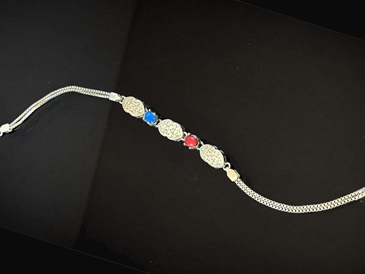 دستبند نقره جواهر