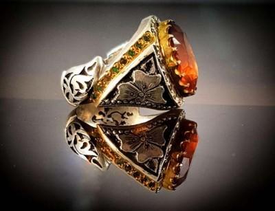 انگشتر نقره با سنگ الکساندریت 111021