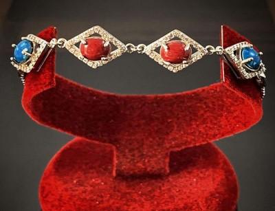 دستبند نقره سنگ درمانی کد 124039