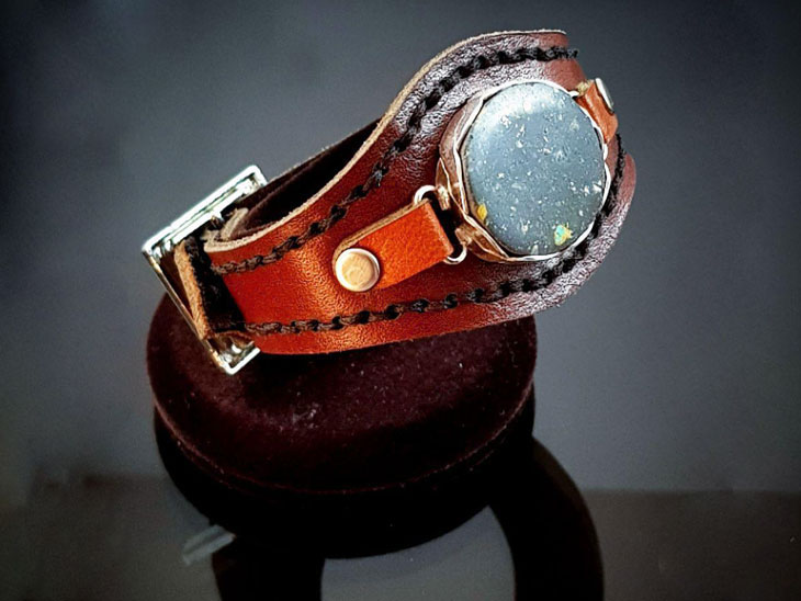 دستبند چرم سنگ مولتی 1